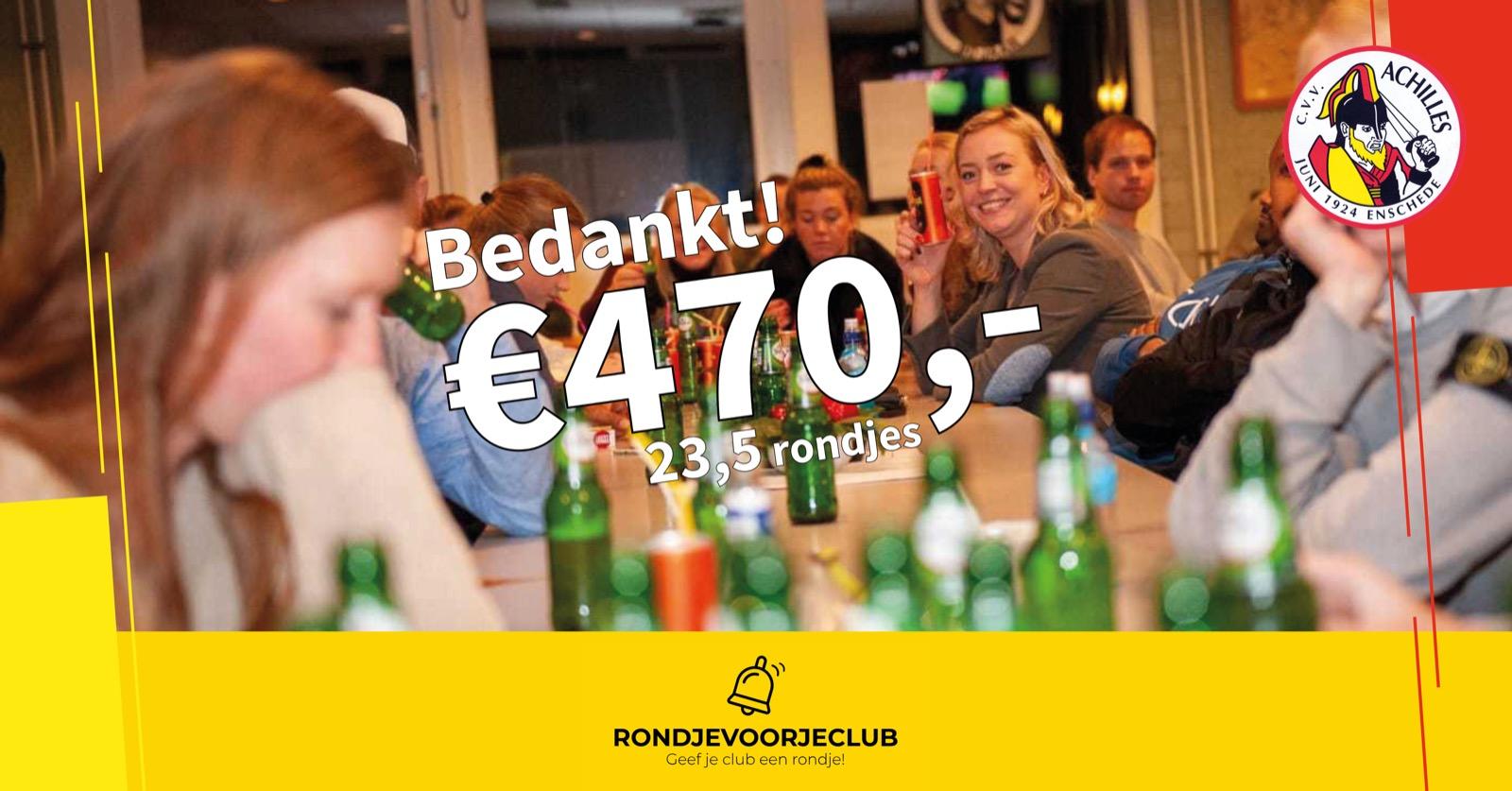 Rondje voor je club levert ruim 450 euro op!