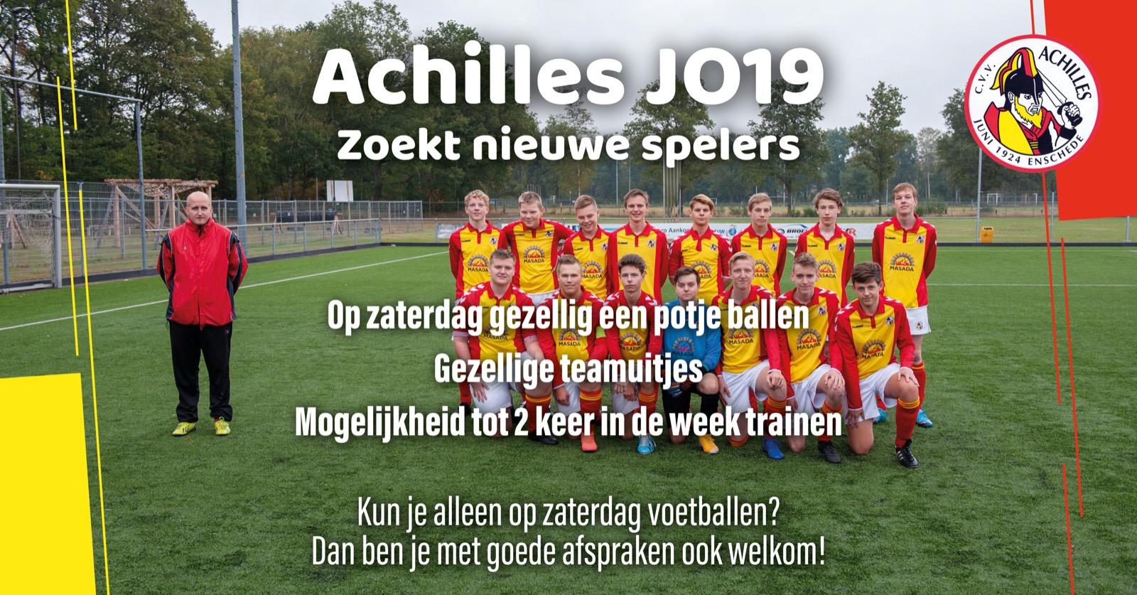 Achilles JO19-1 zoekt nieuwe spelers